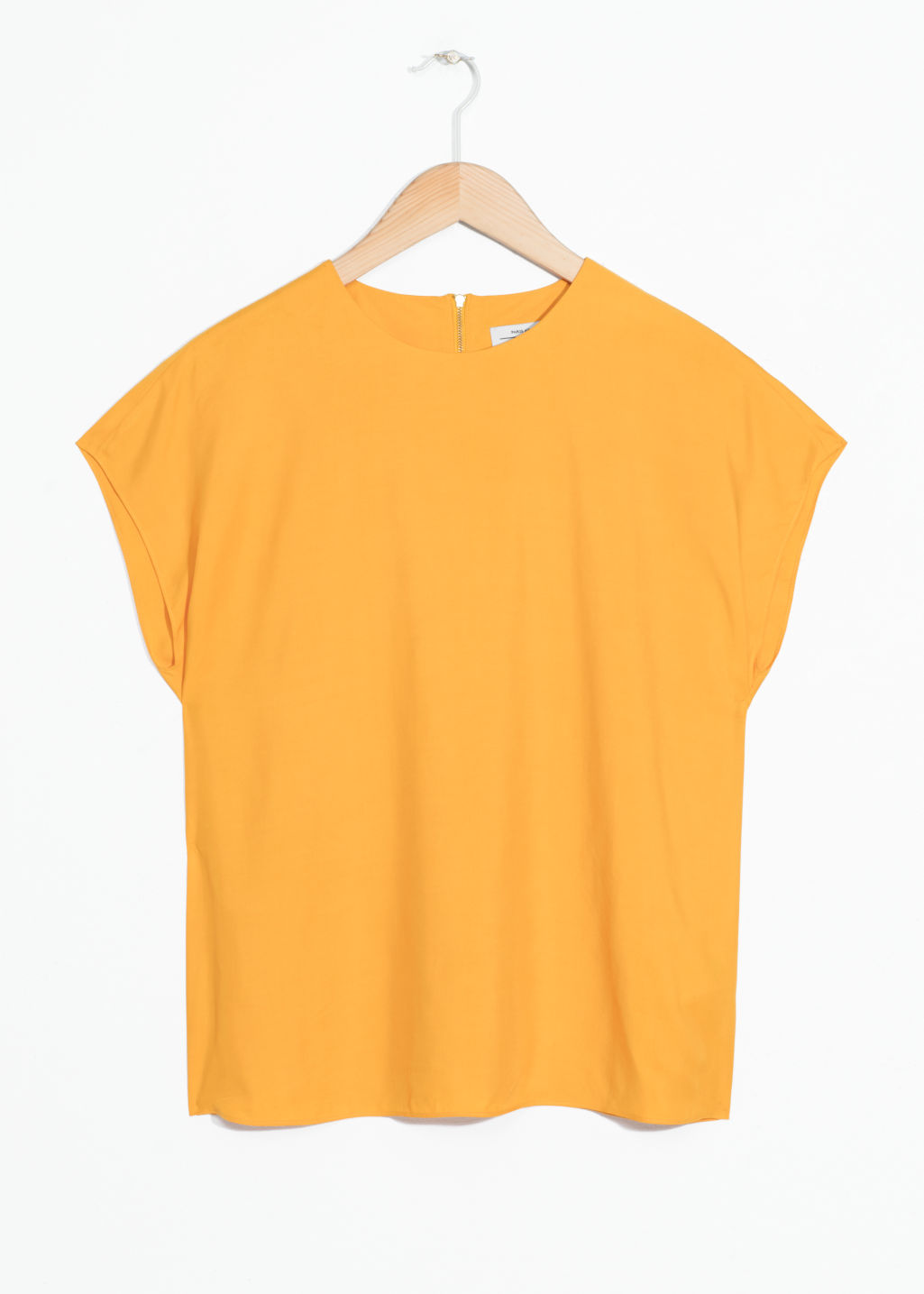 Front image of Stories viscose top in yellow