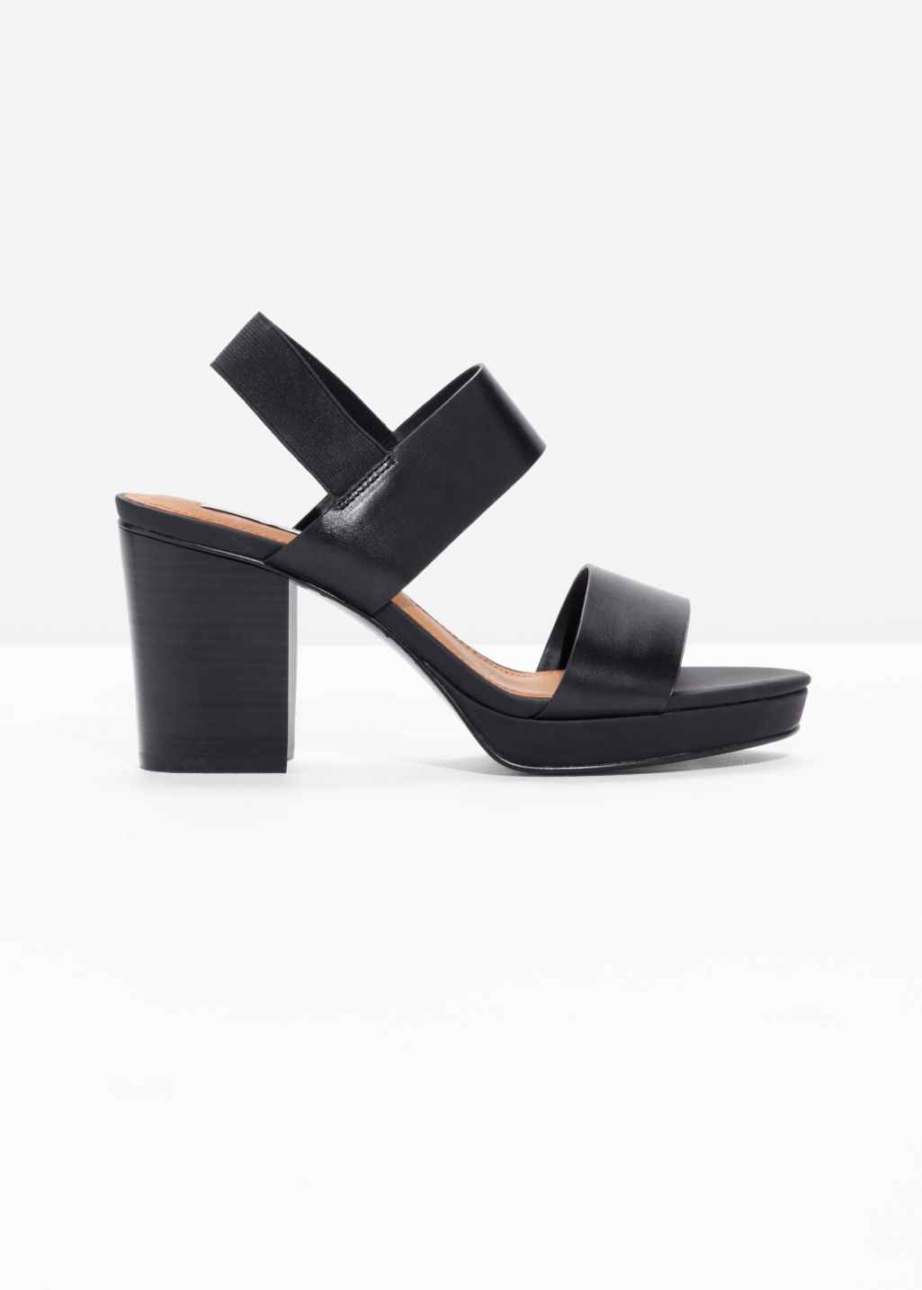 Front image of Stories heeled leather sandals  in black