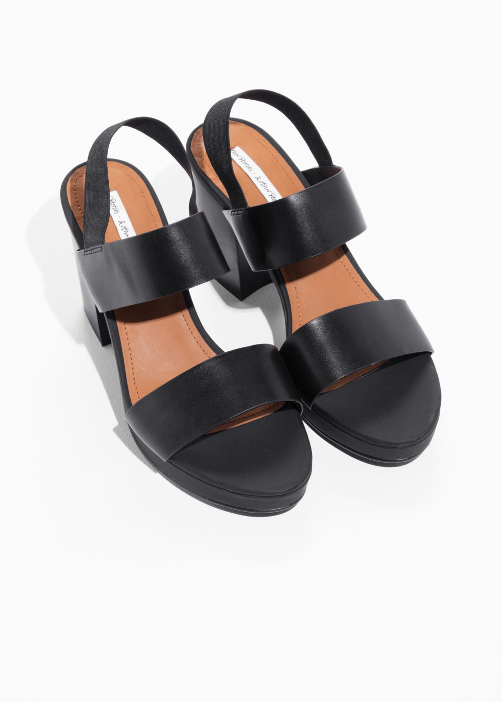Back image of Stories heeled leather sandals  in black