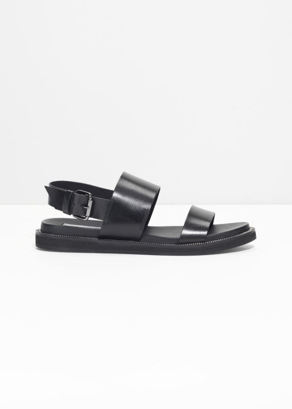 & OTHER STORIES Leather T-Bar Strap Sandals y0ksO