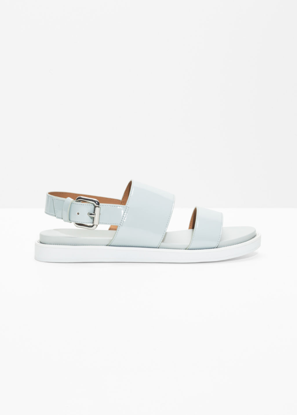 Raw Edge Leather Sandals Light Green Flats & Other Stories