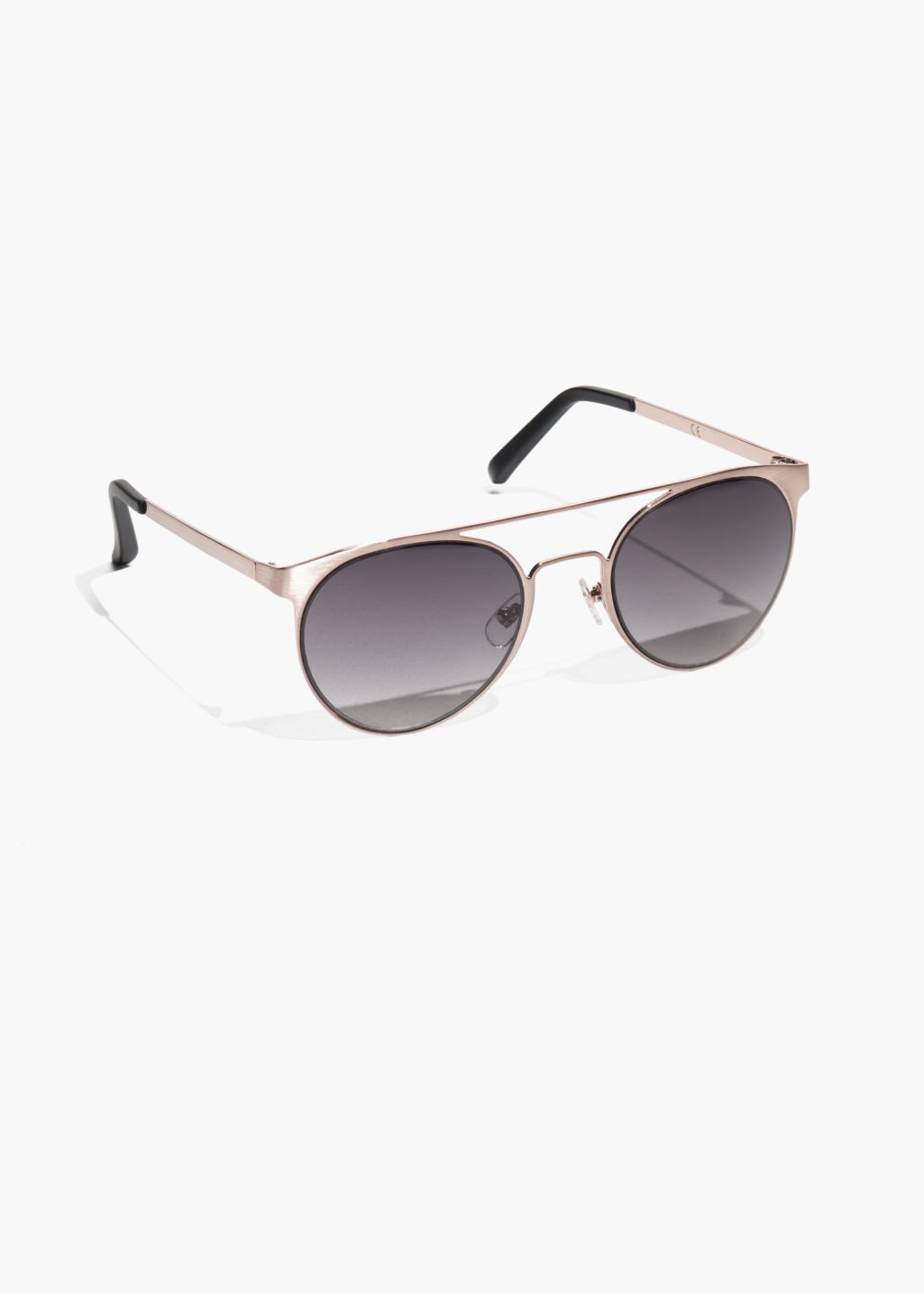 Front image of Stories metal frame aviator sunglasses in brown