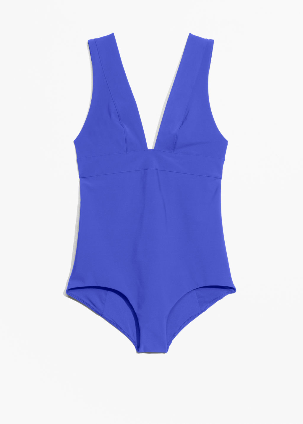 Front image of Stories v-neck swimsuit in blue