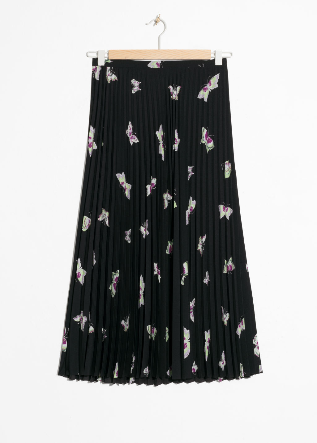 Front image of Stories pleated midi skirt in black