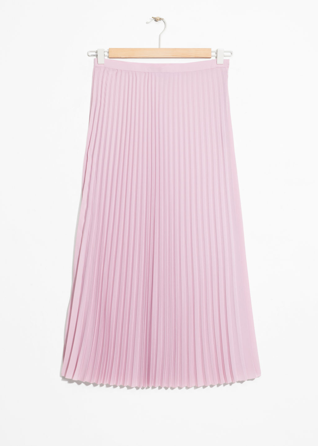 Front image of Stories pleated midi skirt in pink