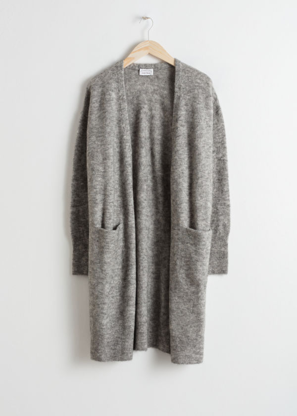 Front image of Stories long mohair-blend cardigan in grey
