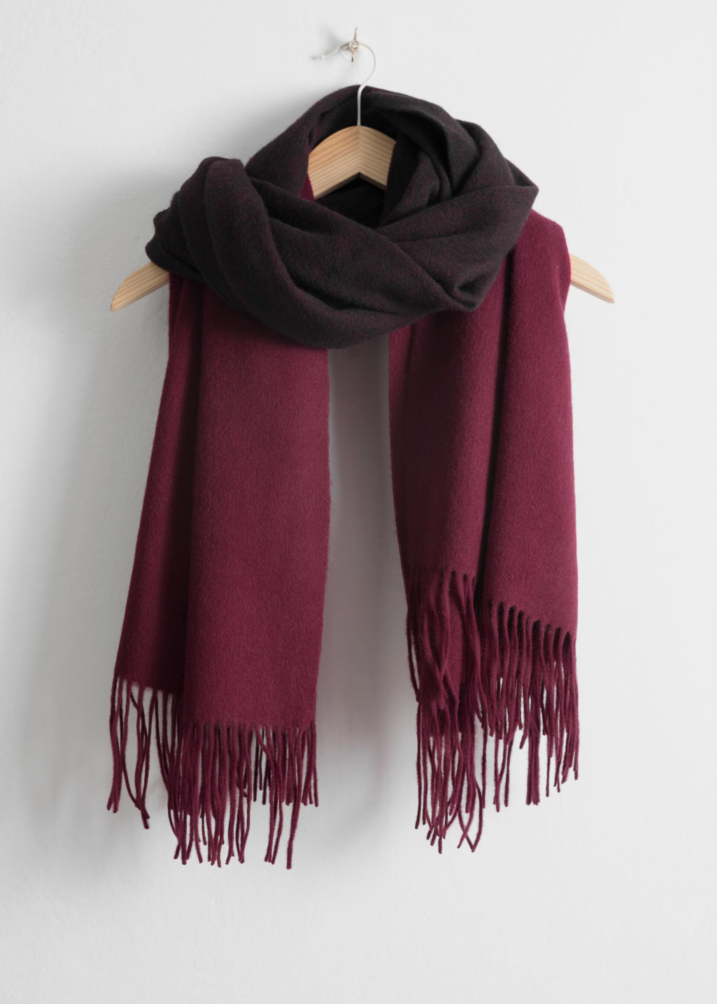 Front image of Stories two tone wool blanket scarf in red