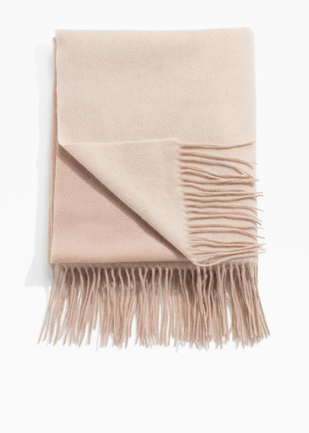 Front image of Stories two tone wool blanket scarf in beige