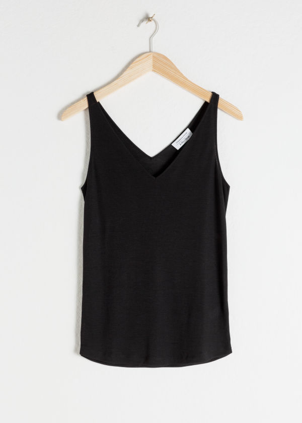 Front image of Stories ribbed v-neck top in black