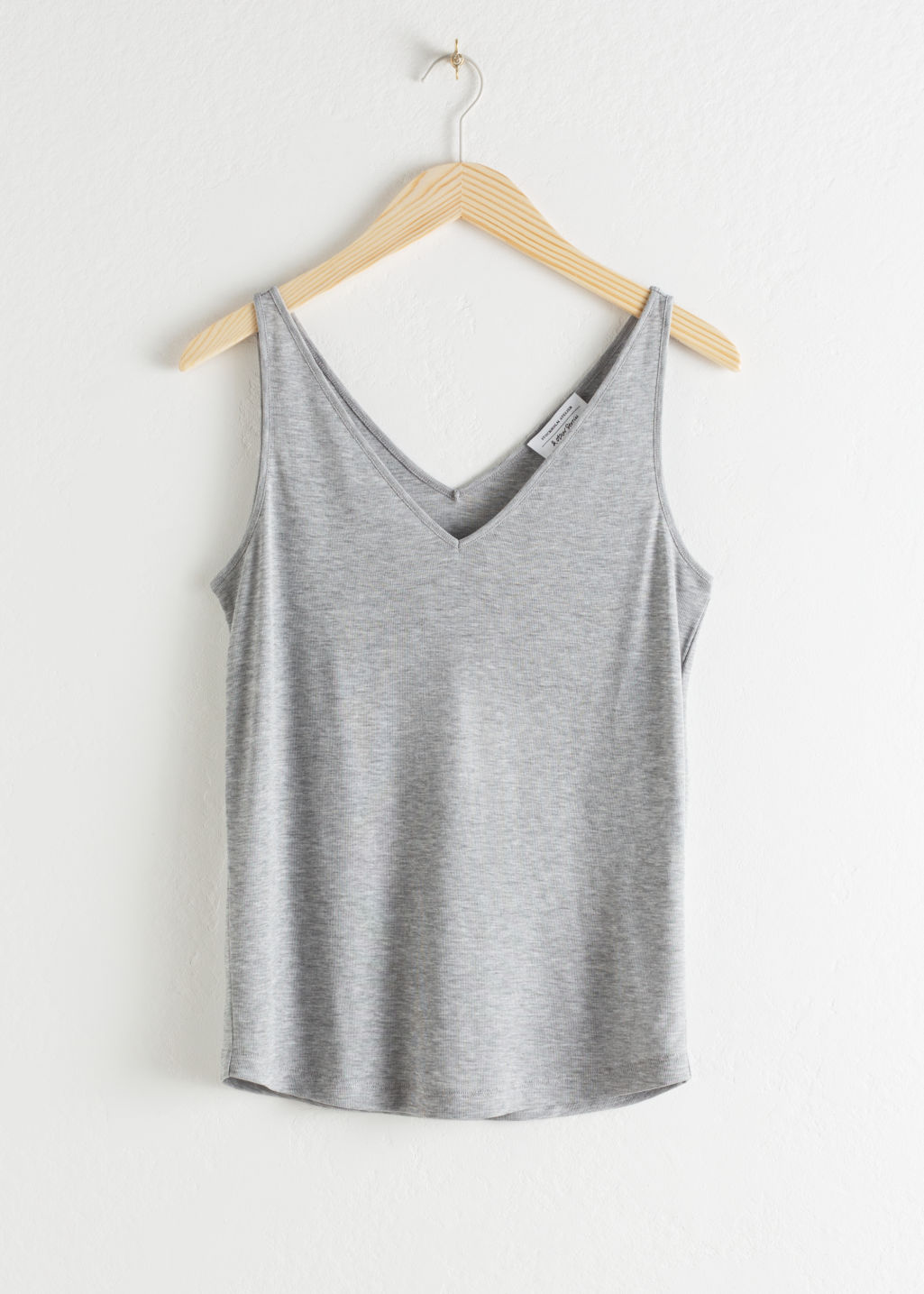 Front image of Stories ribbed v-neck top in grey