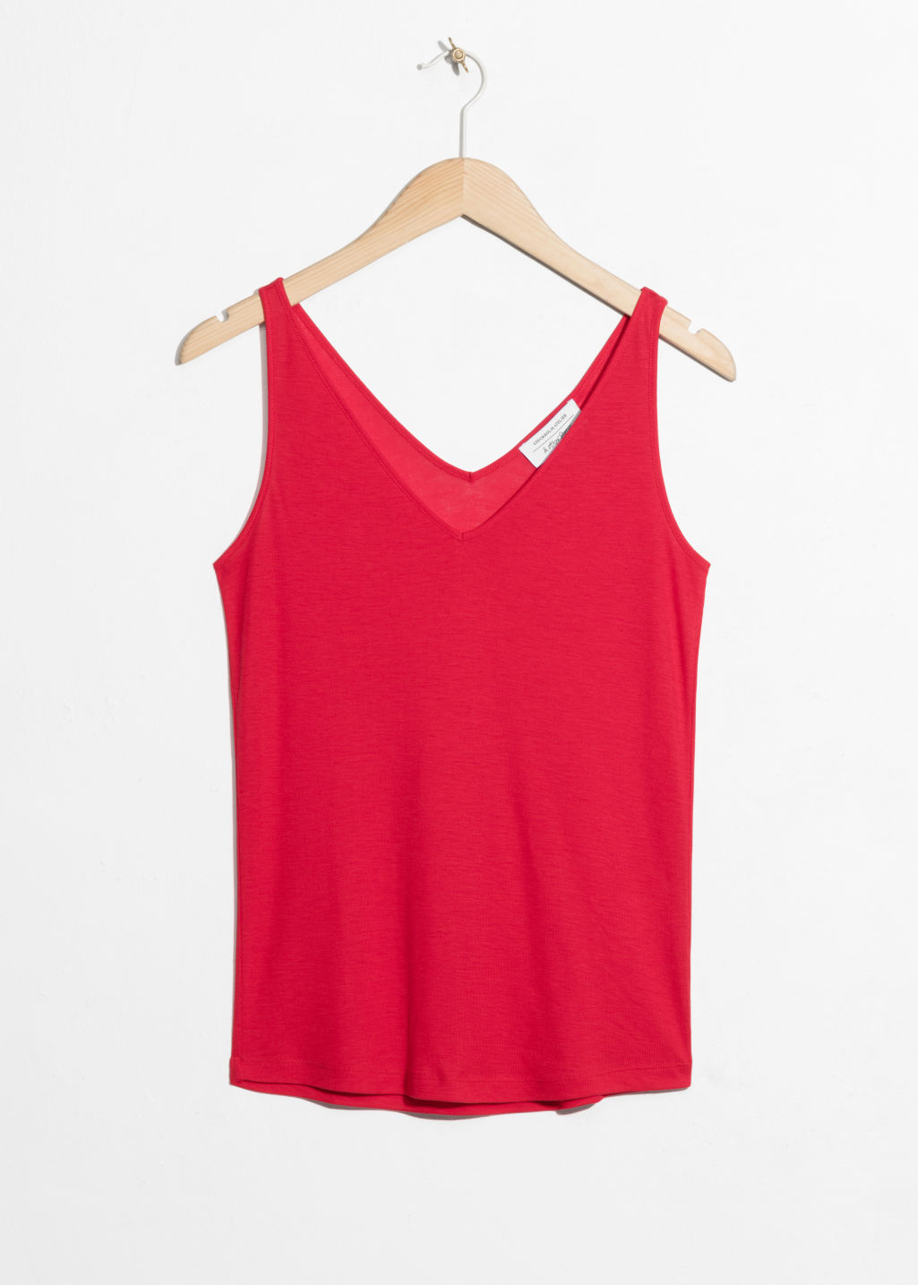 Front image of Stories ribbed v-neck top in red