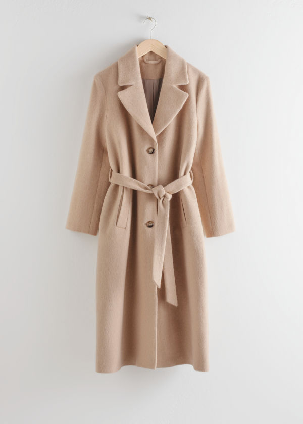 Front image of Stories loose alpaca blend coat in beige