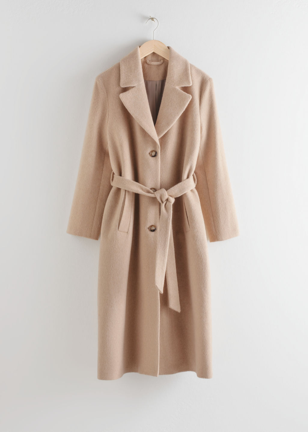 StillLife Front Image of Stories Oversized Alpaca Blend Coat in Beige