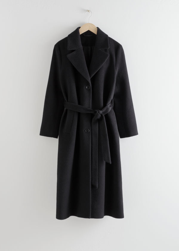 Front image of Stories loose alpaca blend coat in black