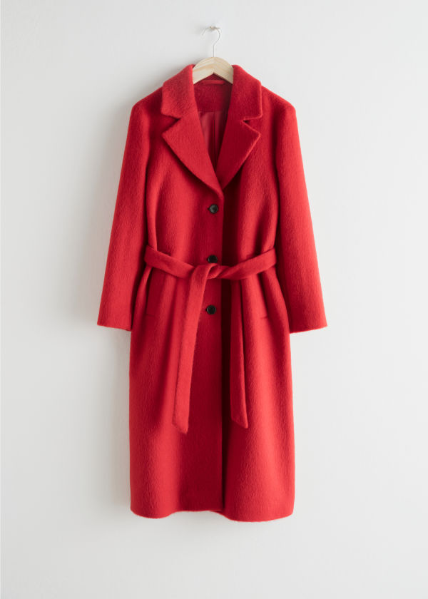 Front image of Stories oversized alpaca blend coat in red