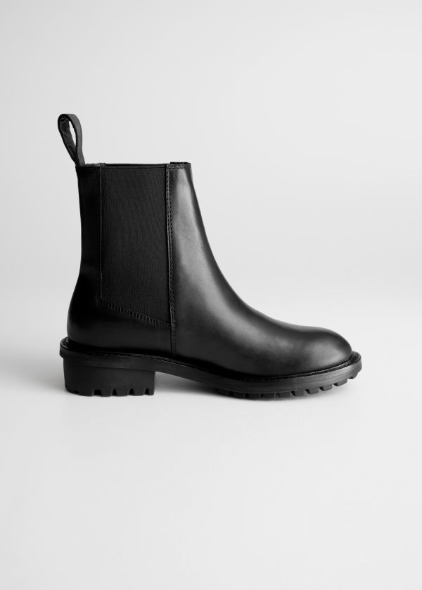 Front image of Stories leather chelsea boots  in black