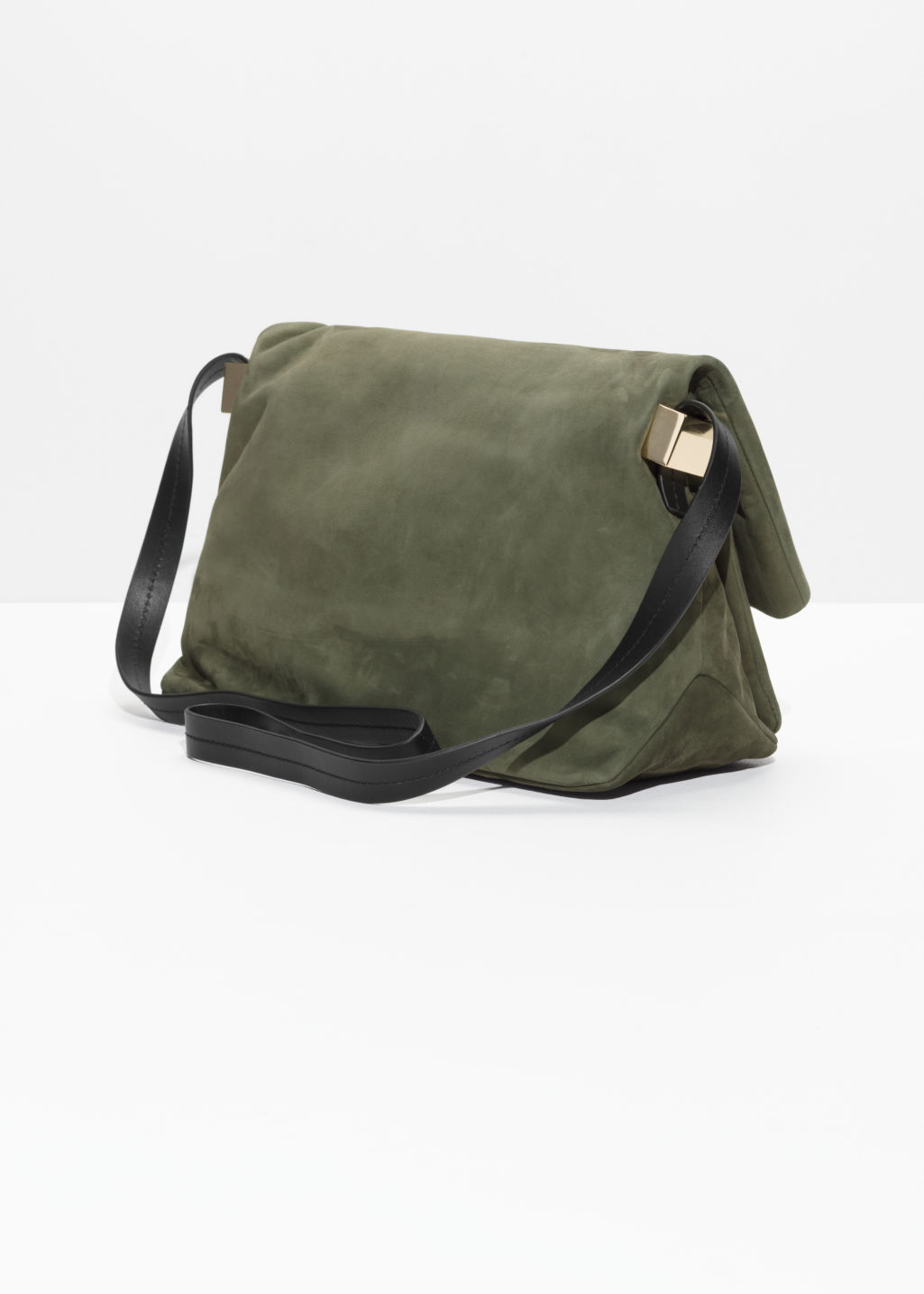 Back image of Stories fold-over suede crossbody bag in green