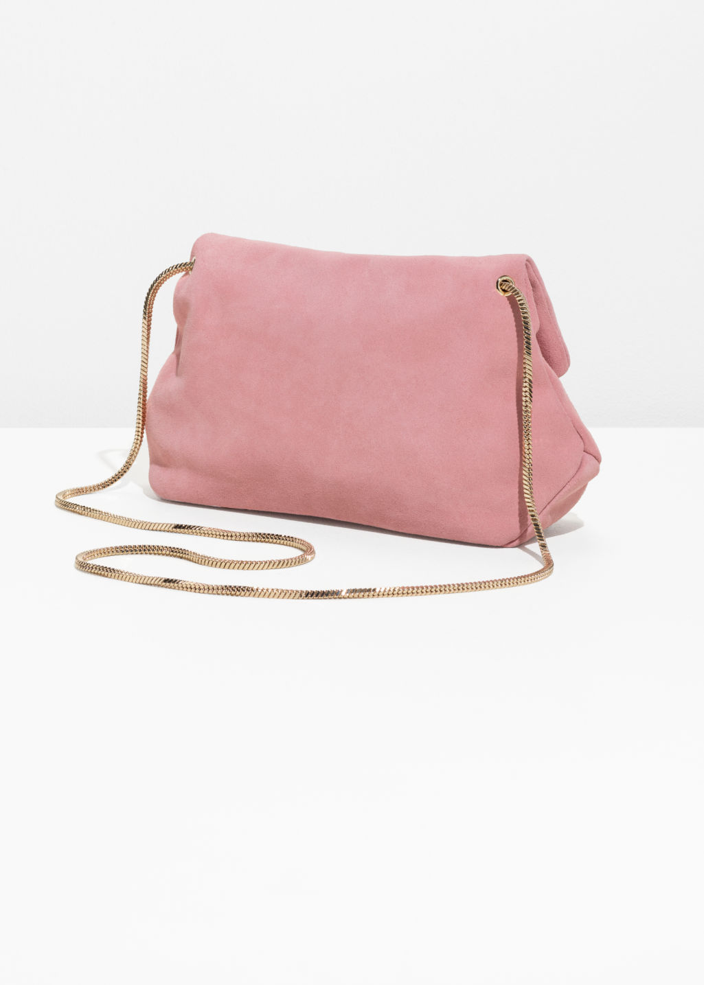 Back image of Stories small leather fold-over bag in pink