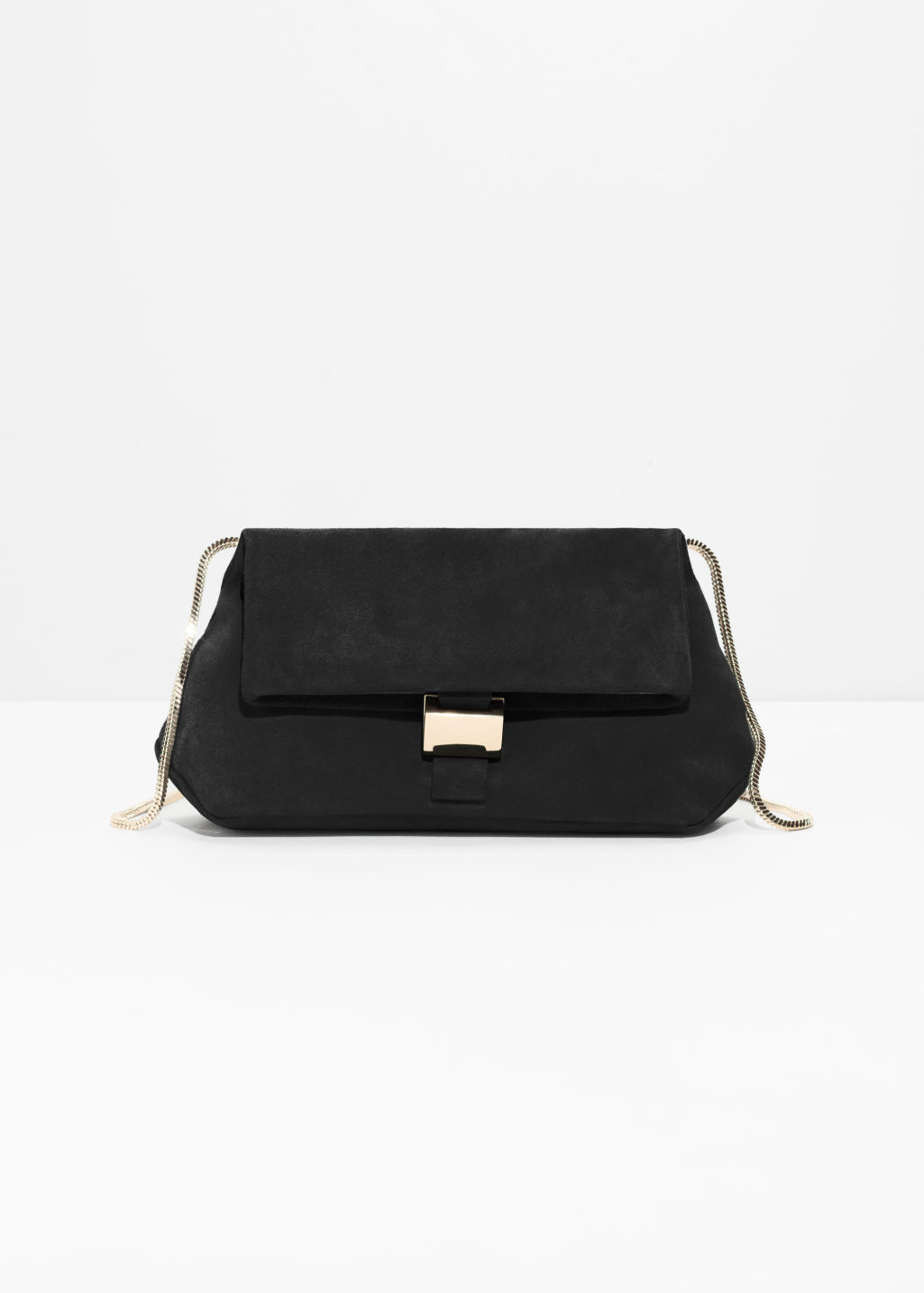 3cc098c7ee28 Small Leather Fold-Over Bag - Black Suede - Shoulderbags -   Other ...