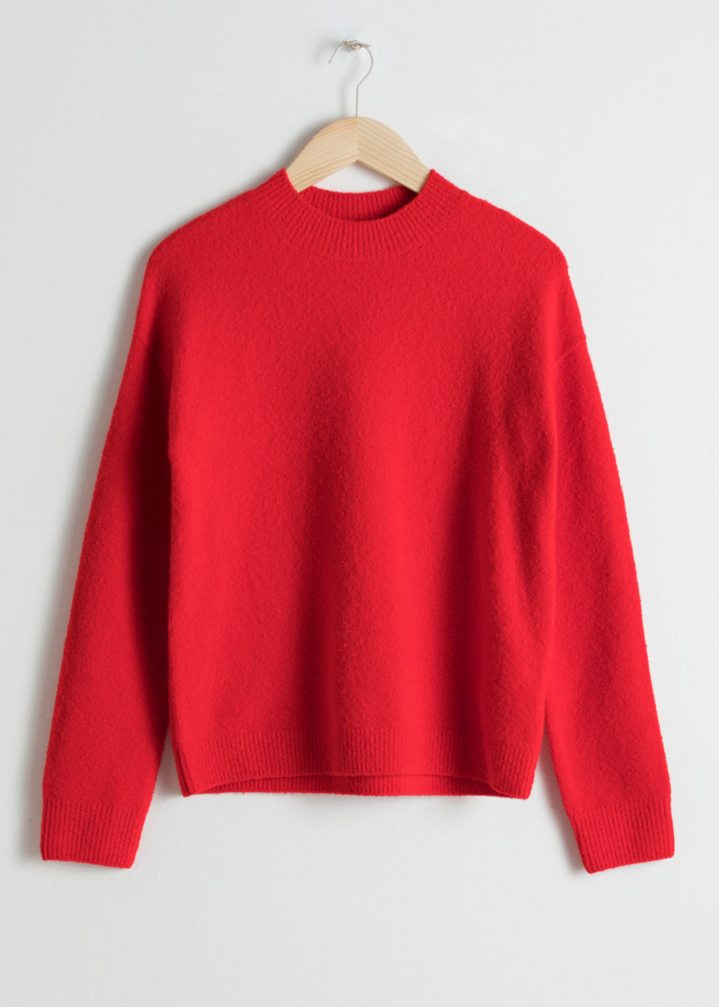 Front image of Stories knit sweater in red