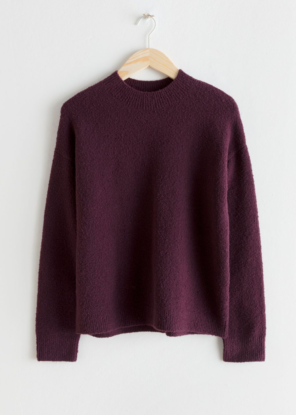 Front image of Stories knit sweater in purple