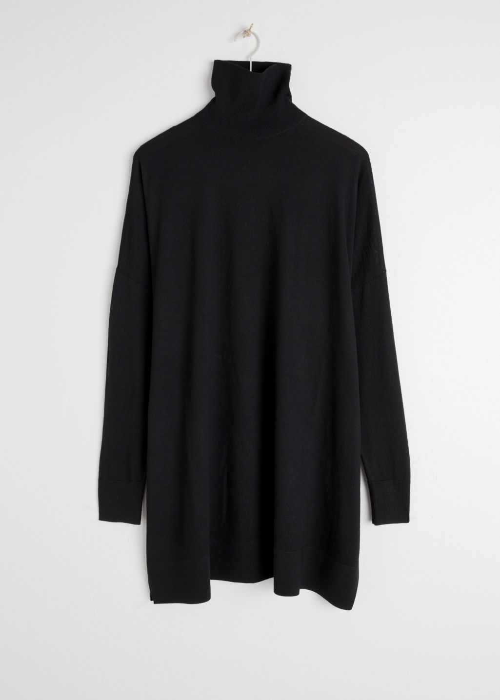 Front image of Stories turtleneck dress in black