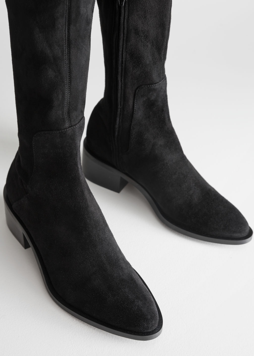 Back image of Stories suede thigh high boots in black