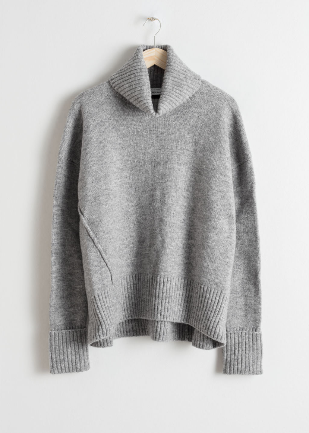 Front image of Stories turtleneck sweater in grey