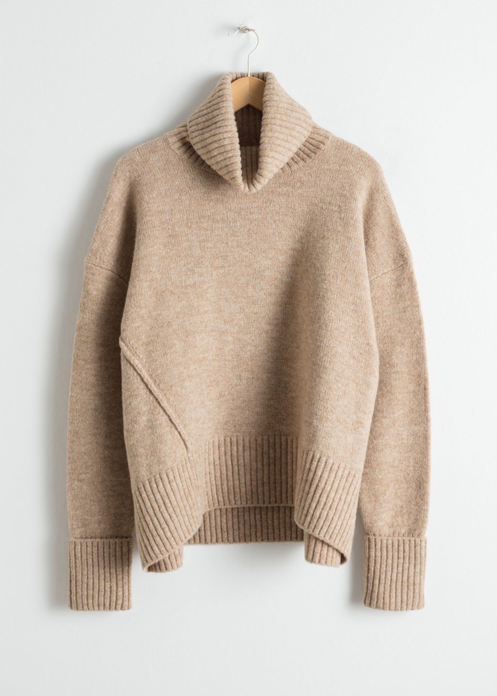 Front image of Stories wool blend turtleneck sweater in beige
