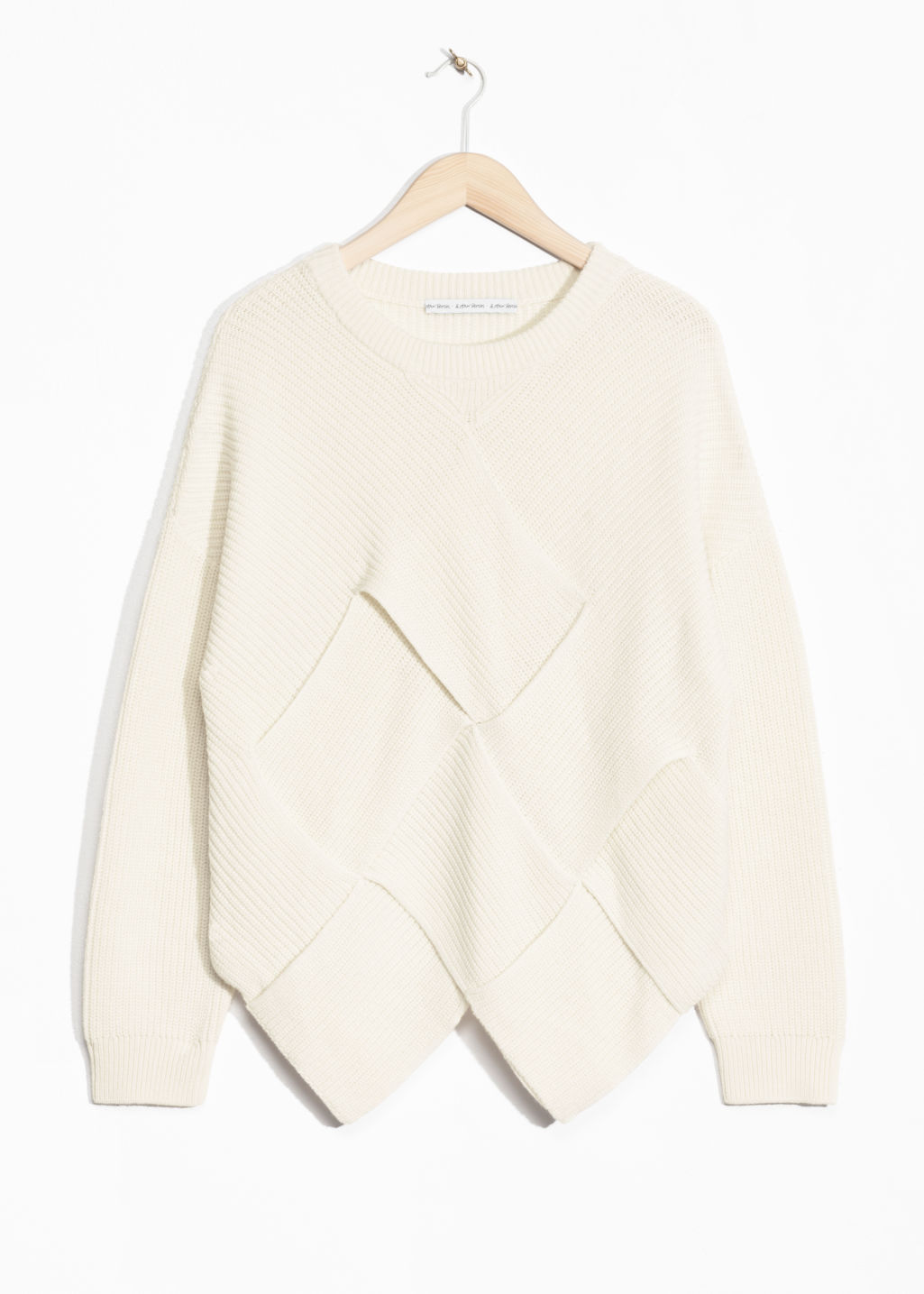 Front image of Stories braided wool-blend sweater  in white