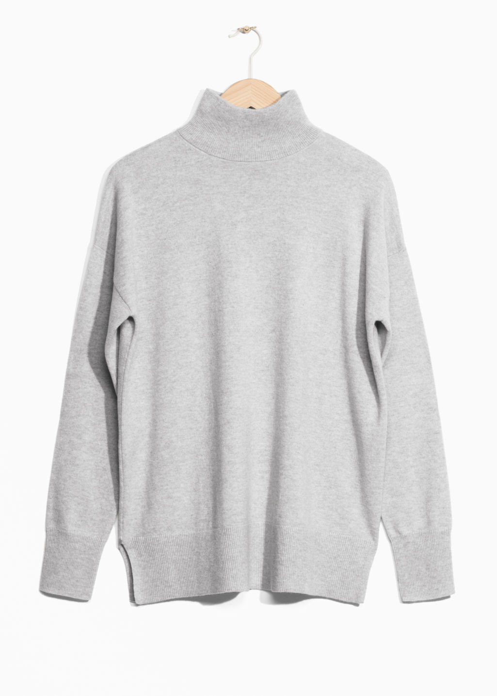 Front image of Stories cashmere turtleneck sweater in grey