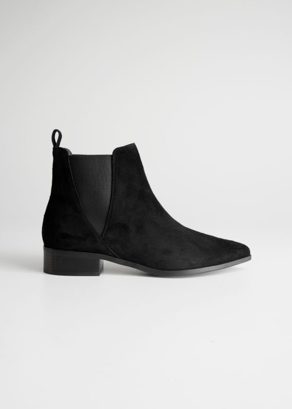 Front image of Stories chelsea boots in grey