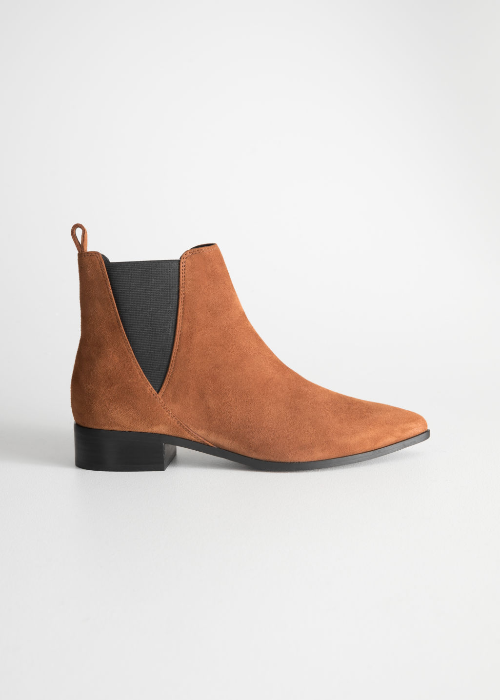 Front image of Stories chelsea boots in orange