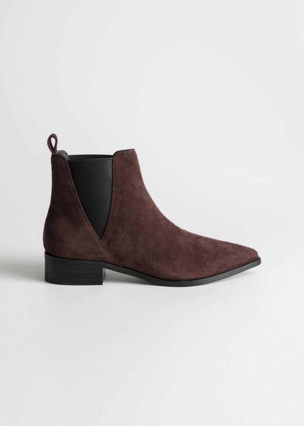 Front image of Stories chelsea boots in red