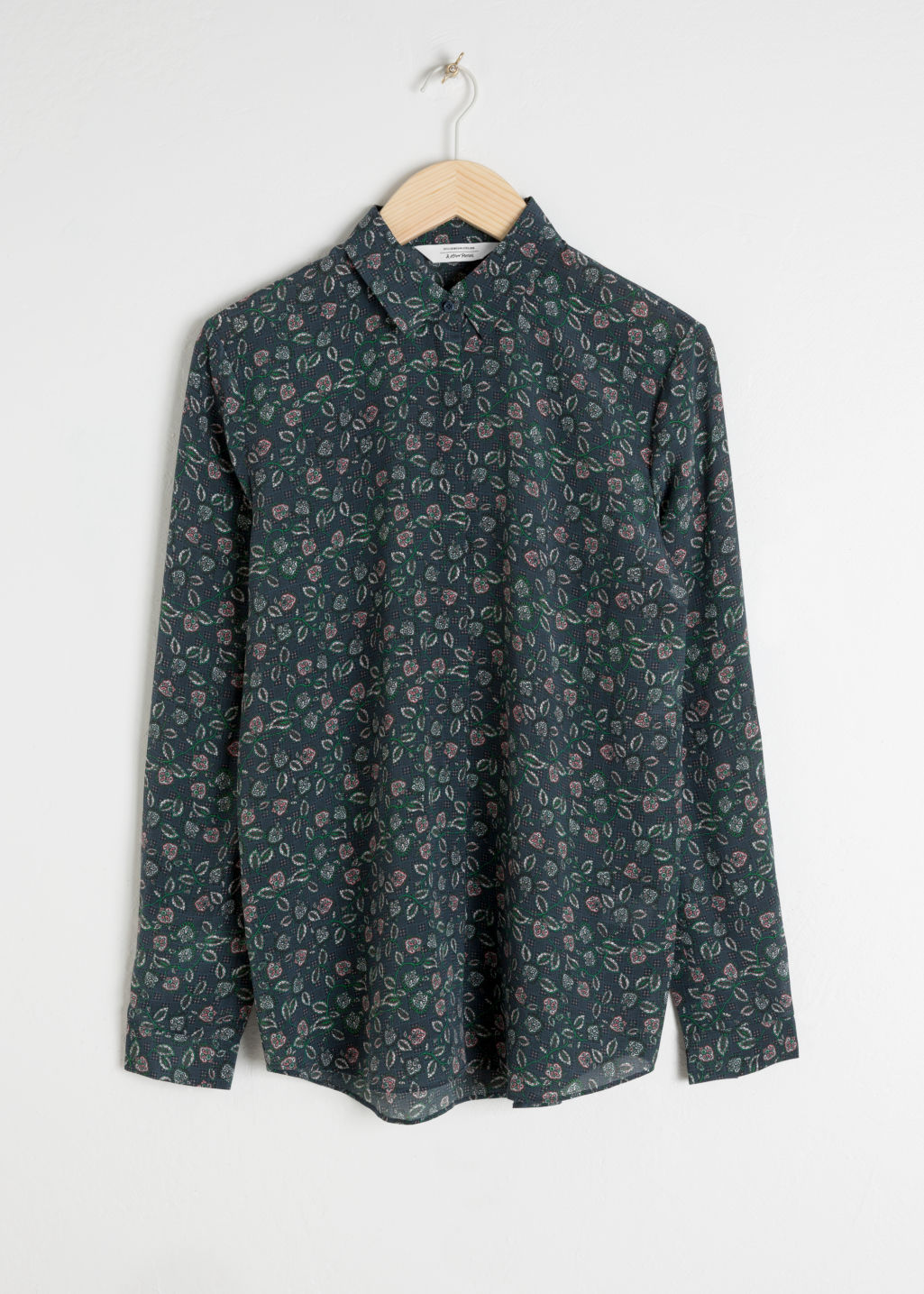 Front image of Stories silk shirt  in blue