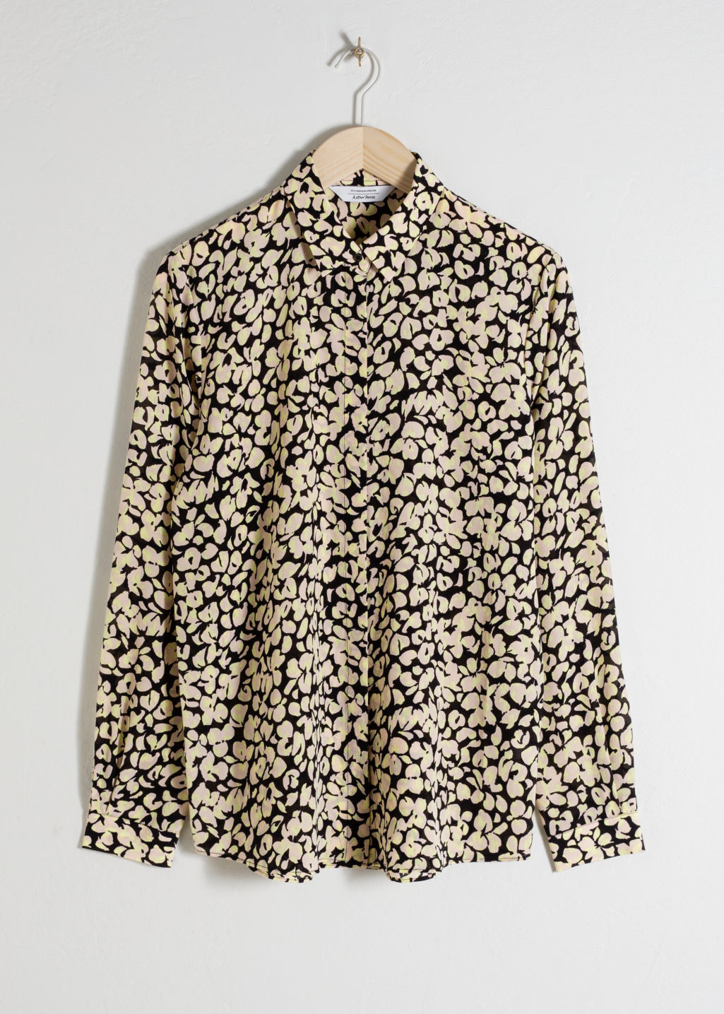 Front image of Stories silk shirt in beige