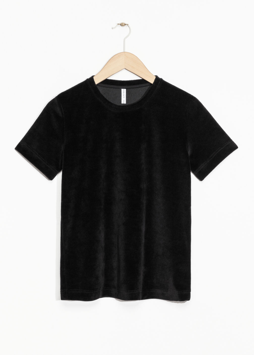 Front image of Stories velour t-shirt in black