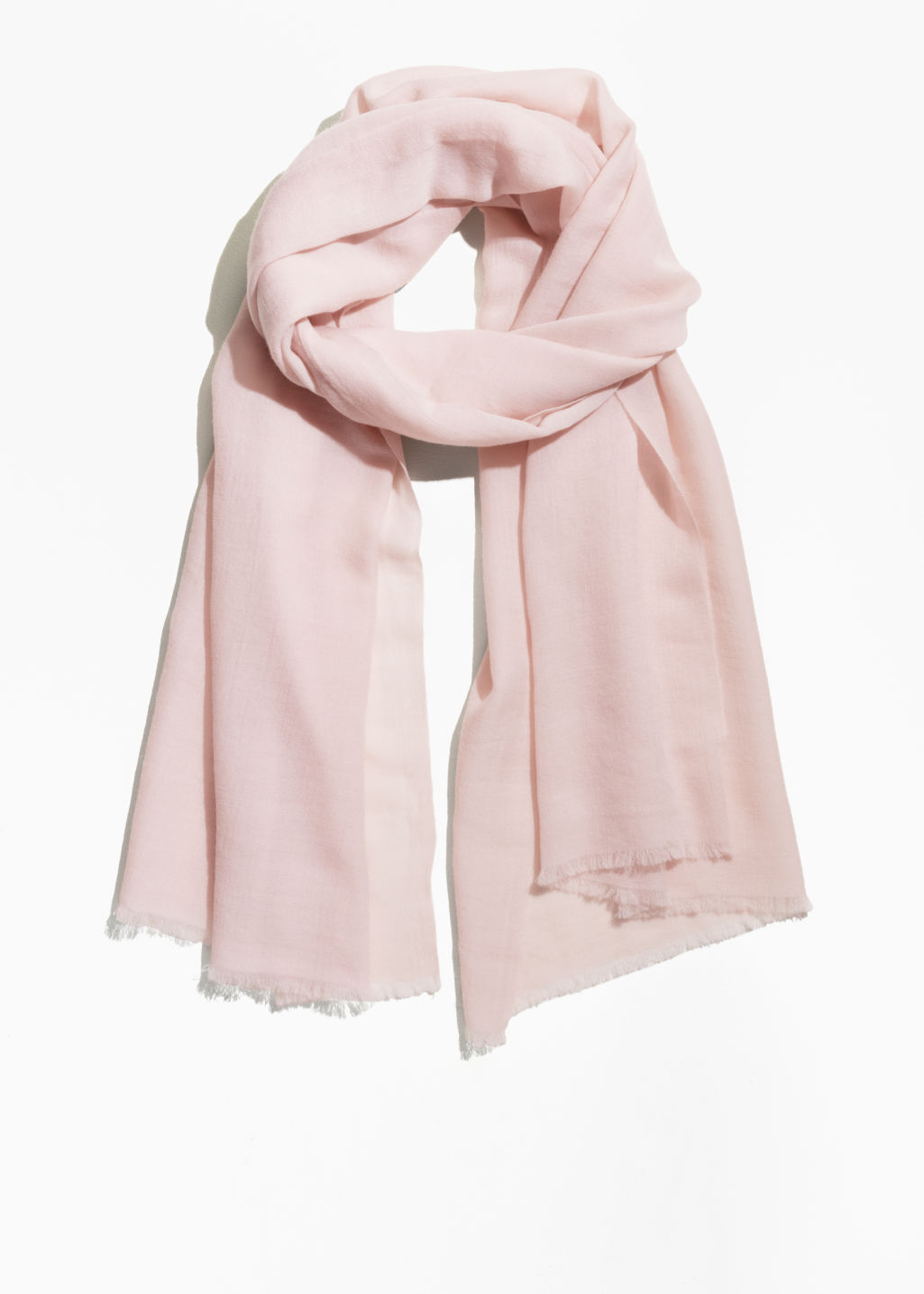 Front image of Stories lightweight wool scarf in beige