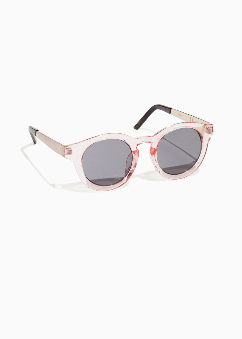 Front image of Stories round sunglasses in pink