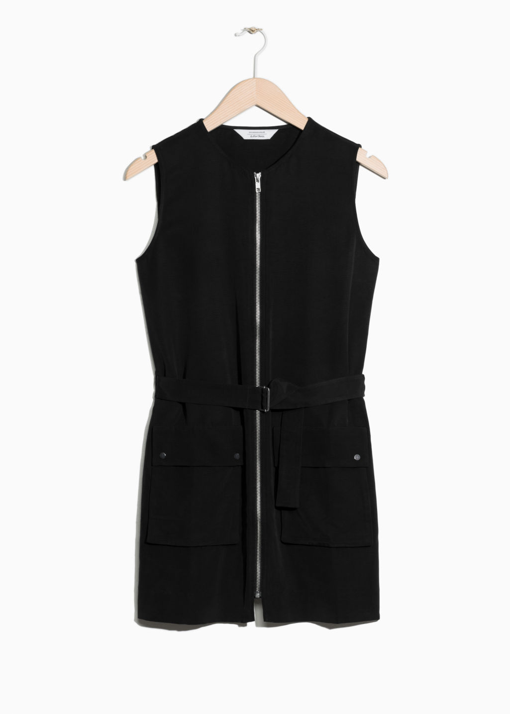 Front image of Stories belted zip dress in black