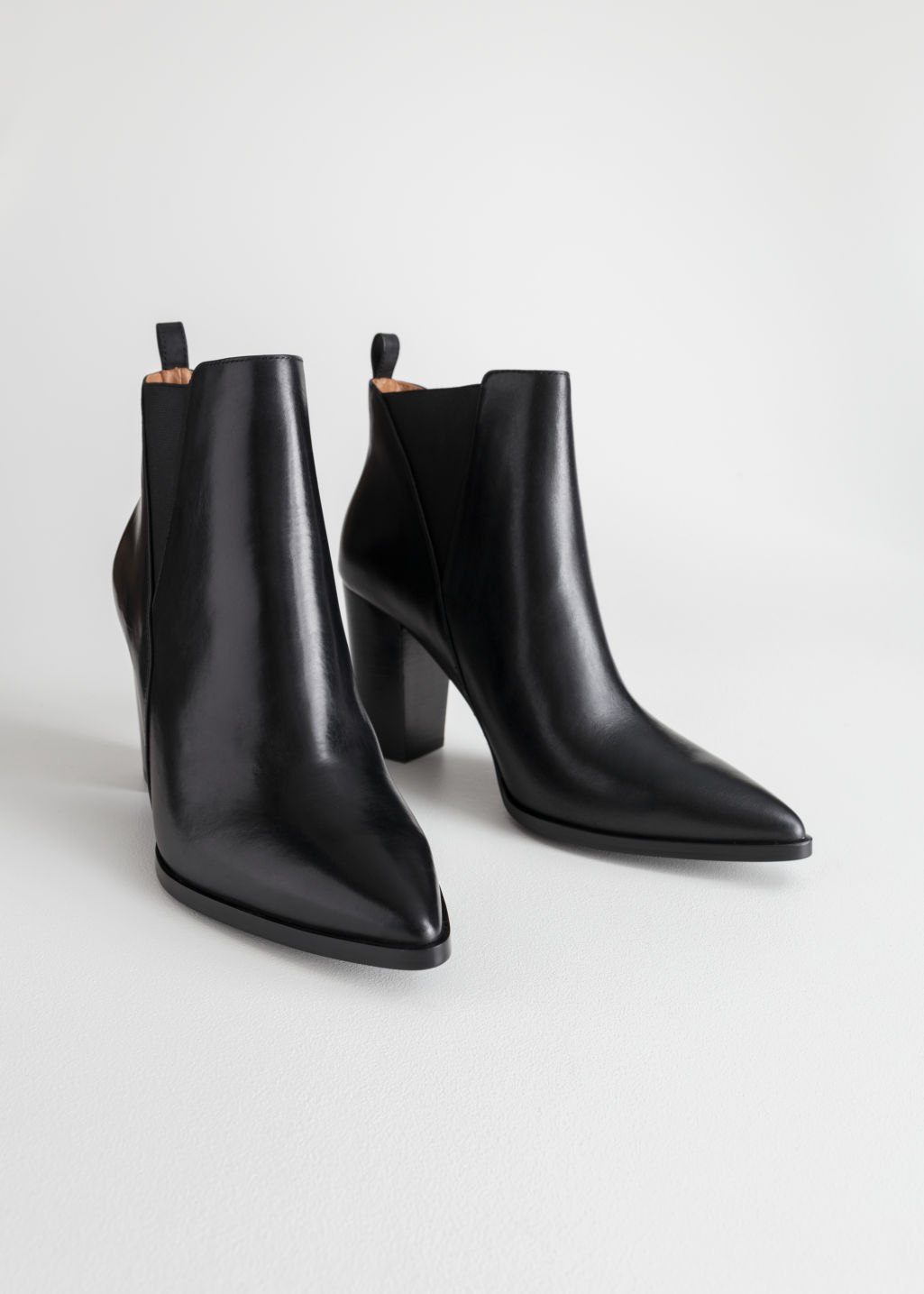 Back image of Stories leather ankle boots  in black
