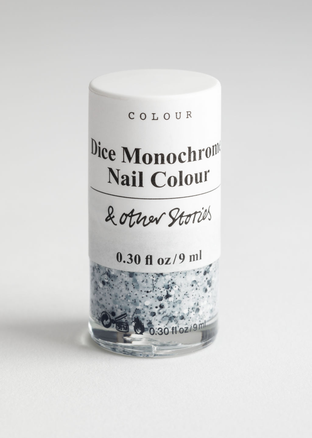 Front image of Stories nail polish  in white