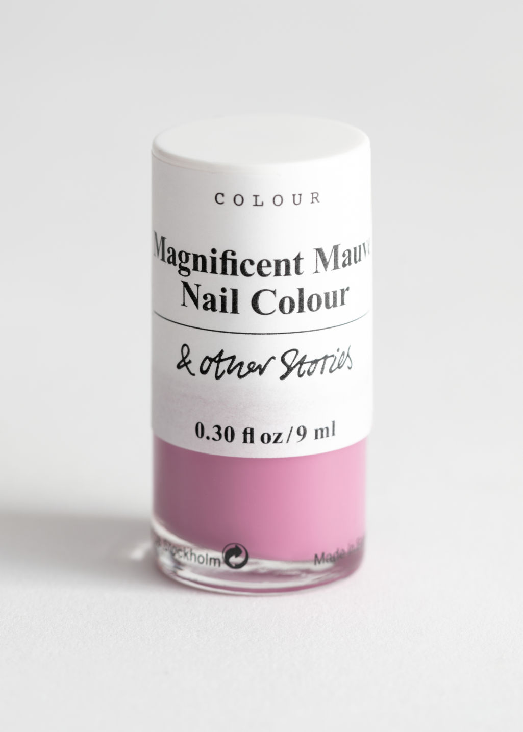 Front image of Stories nail polish  in pink
