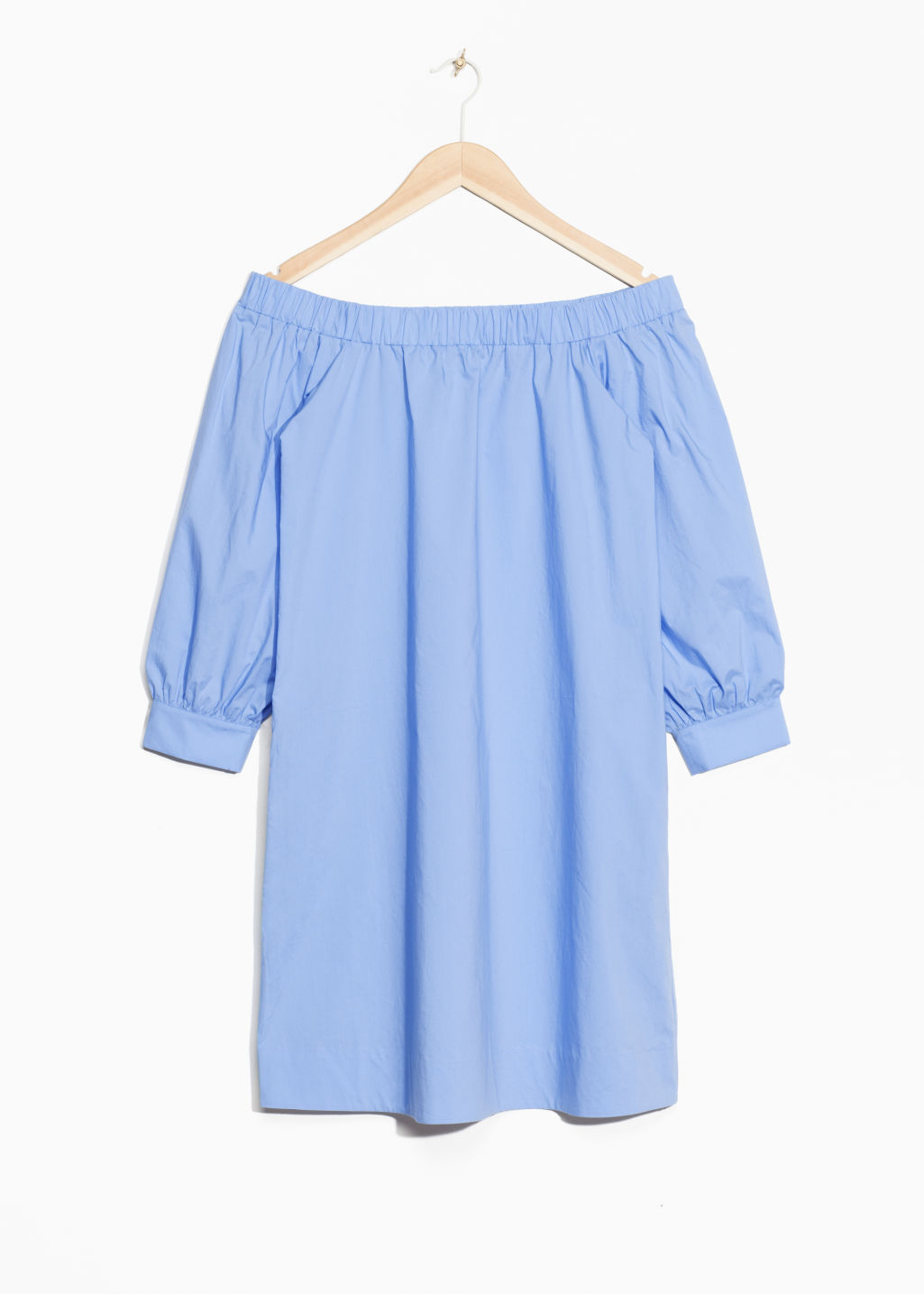 Front image of Stories off-shoulder dress in blue