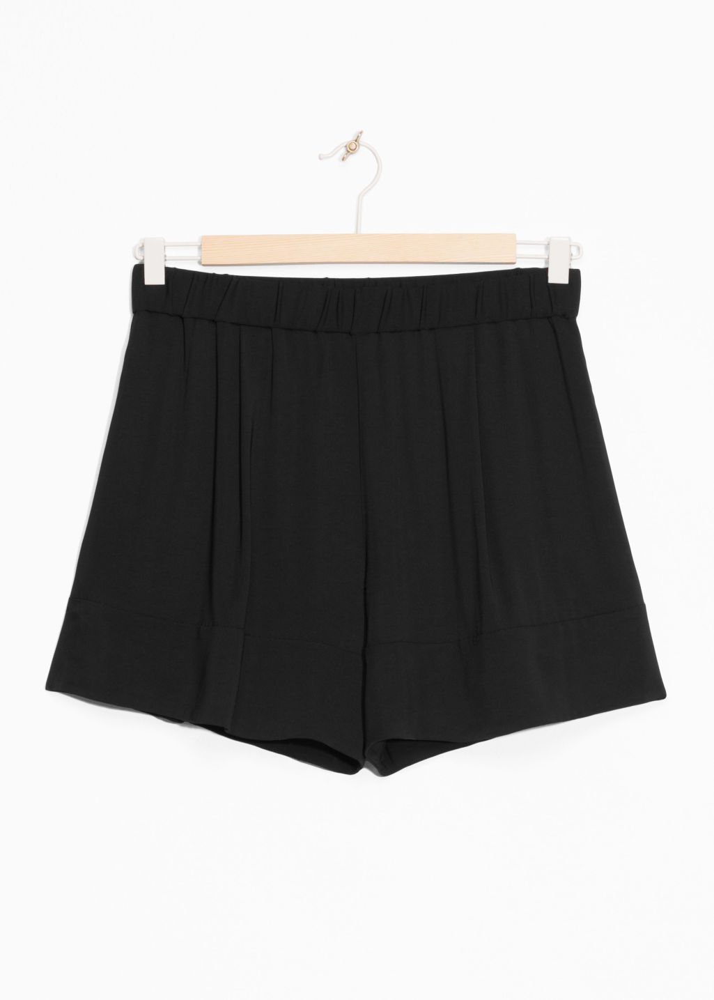 Front image of Stories twill shorts in black