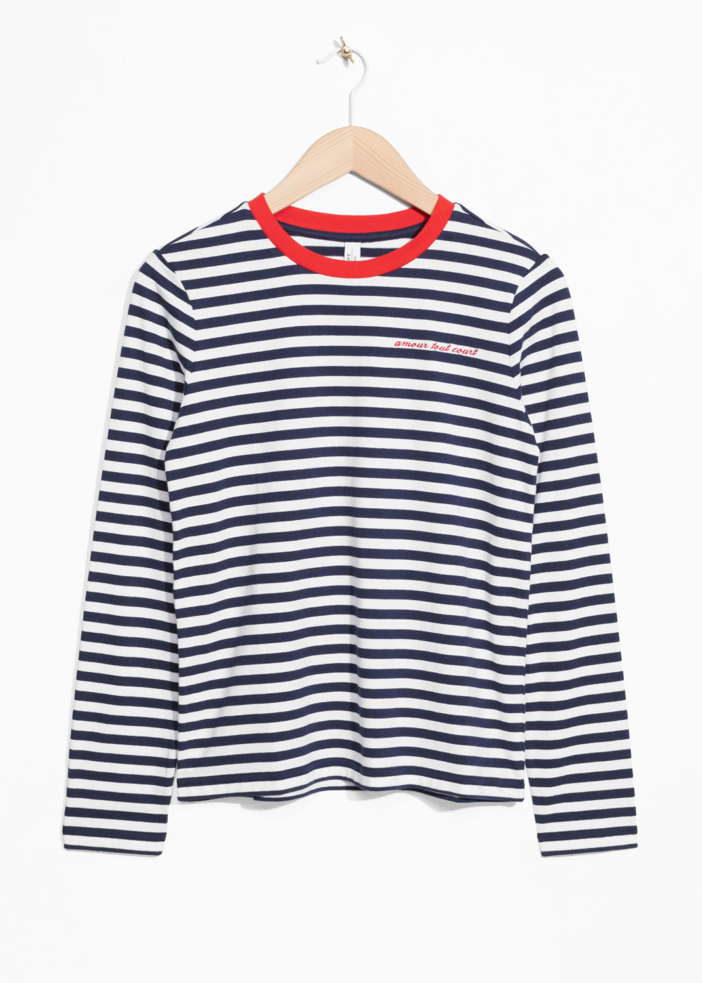 Front image of Stories striped long sleeve tee in blue