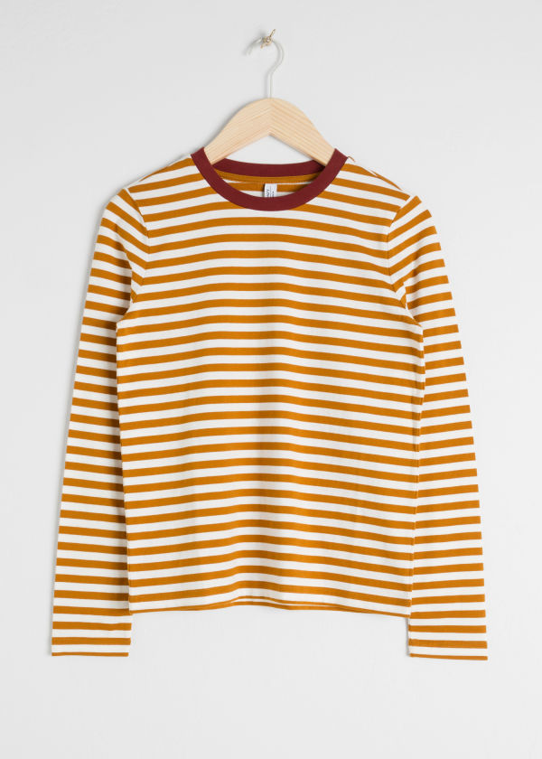 Front image of Stories striped long sleeve tee in yellow
