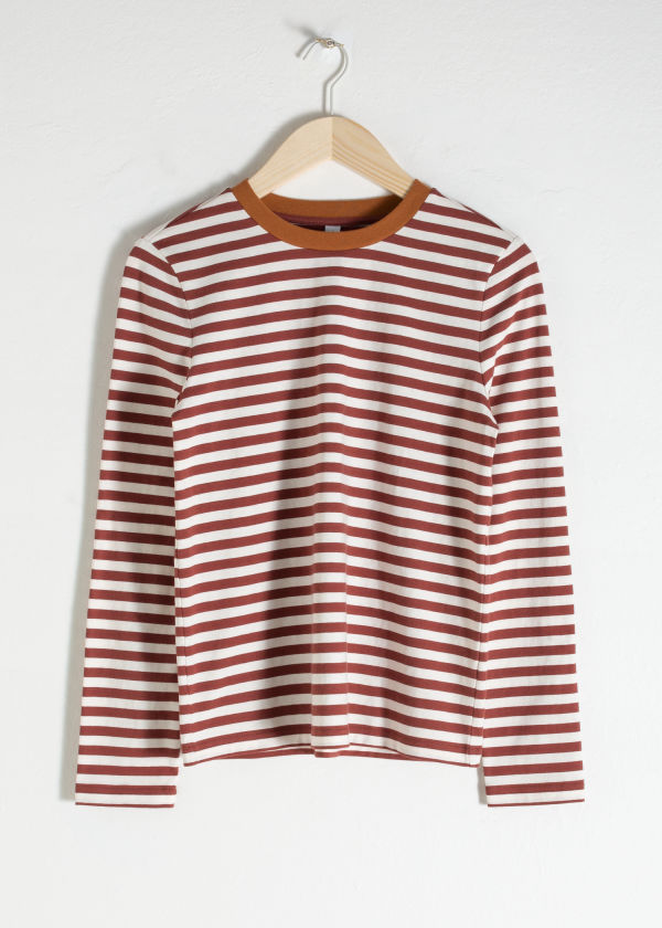 Front image of Stories striped long sleeve tee in orange