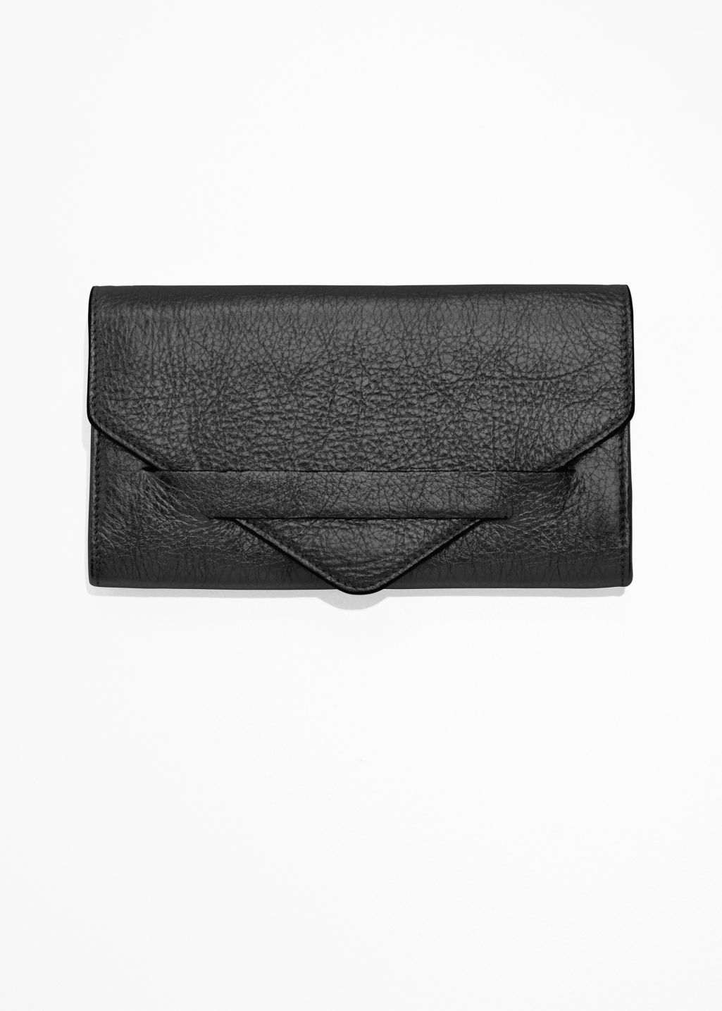 Front image of Stories envelope wallet in black