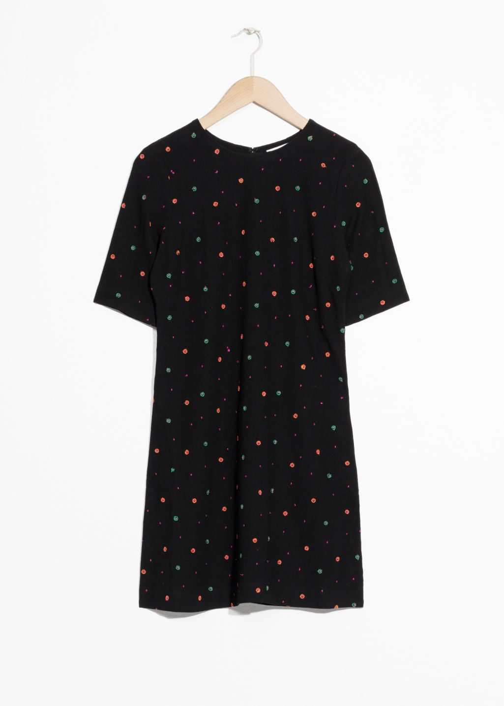 Front image of Stories linen blend dress in black
